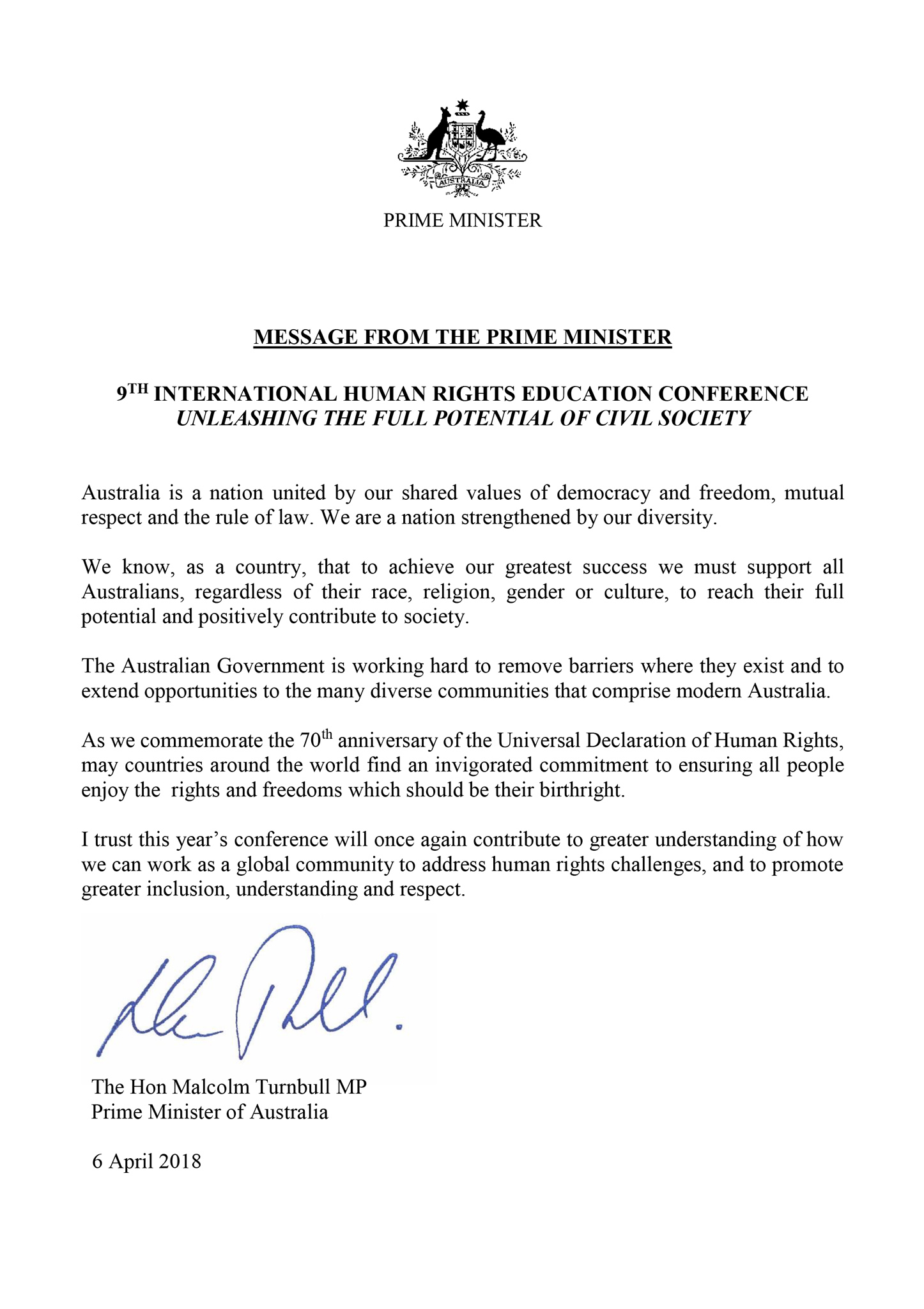 9th ICHRE Conference, International Conference on Human Rights Education, Priminister Malcolm Turnbull