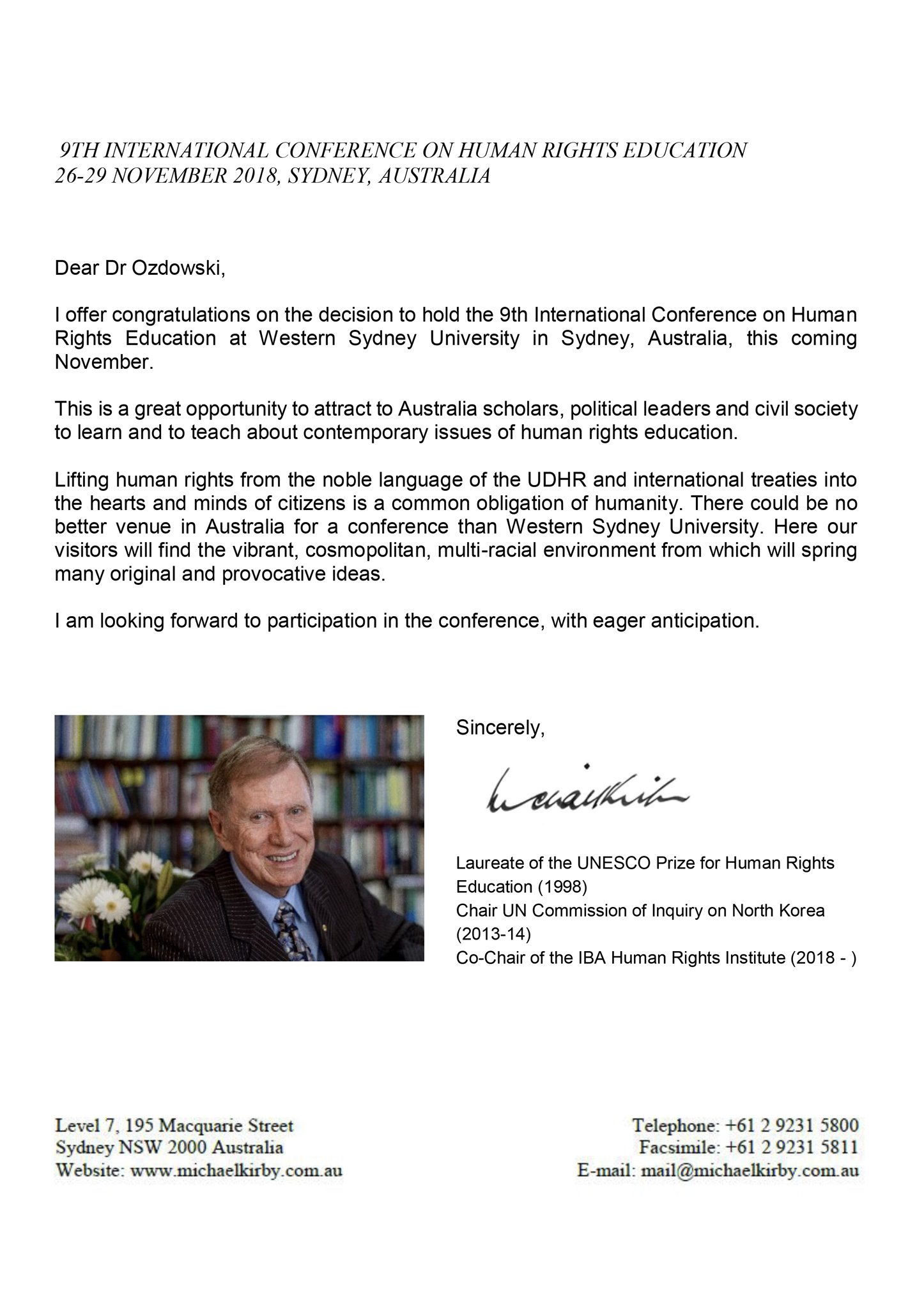 9th ICHRE Conference, International Conference on Human Rights Education, Michael Kirby